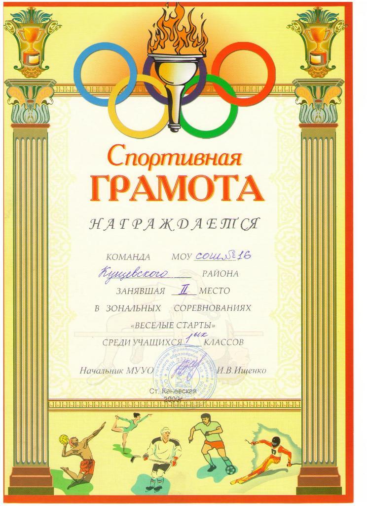 Грамоты за участие в спортивном конкурсе